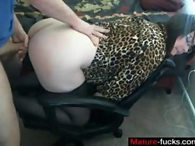 Sweet brunette nerd getting ripped apart on an office chair