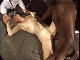 Ivory Blaze takes big black cock deep inside her asshole and twat